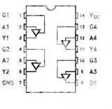 Интегрална схема 74HC126, TTL съвместима, QUAD BUS BUFFERS (3-STATE), DIP14 - 2