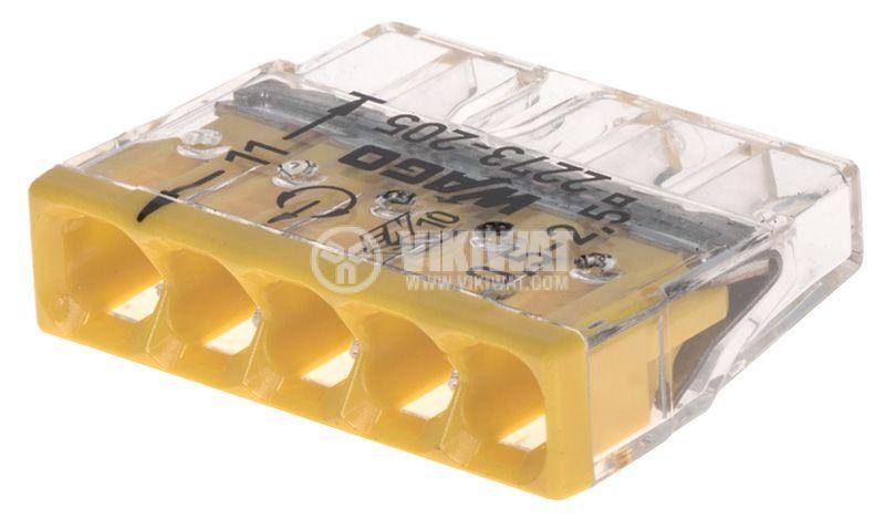 Безвинтова клема, петица, 450V, 24A, 2.5mm2, жълта, WAGO 2273-205 - 1