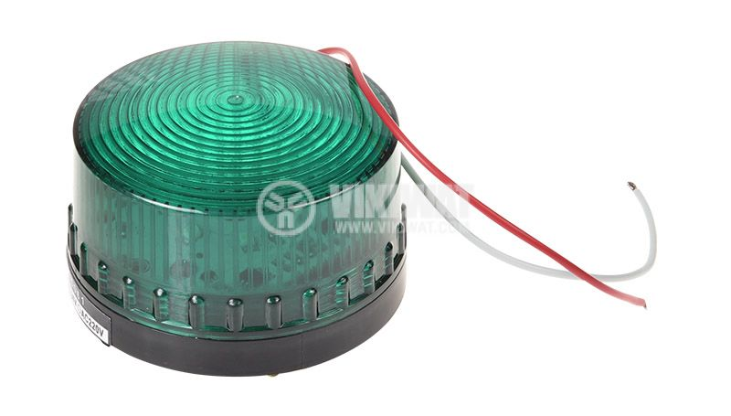 Signal lamp LTE-5061, 12VDC, green, with screws - 1