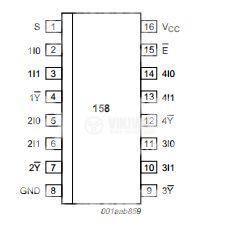 Интегрална схема 74HC158, TTL съвместима, Quad 2-input multiplexer, inverting, DIP16 - 2