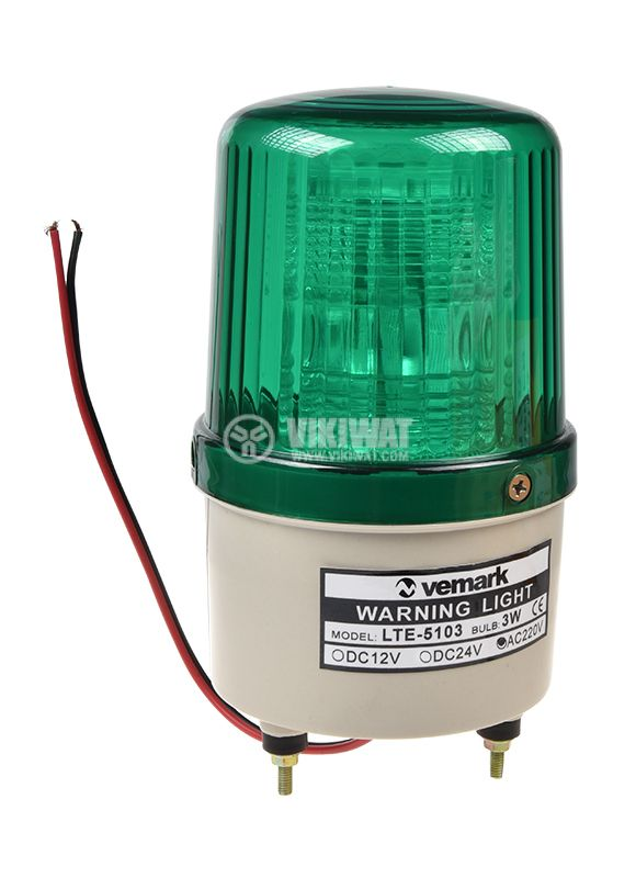 Flashing light LTE-5103, 24VDC, green, with screws - 1