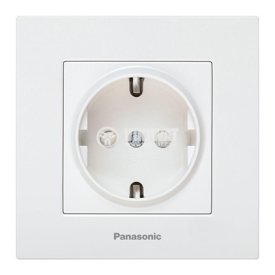 Електрически контакт, Karre Plus, Panasonic, единичен, 16A, 250VAC, бял, за вграждане, шуко, с детска защита, WKTC0212-2WH - 1