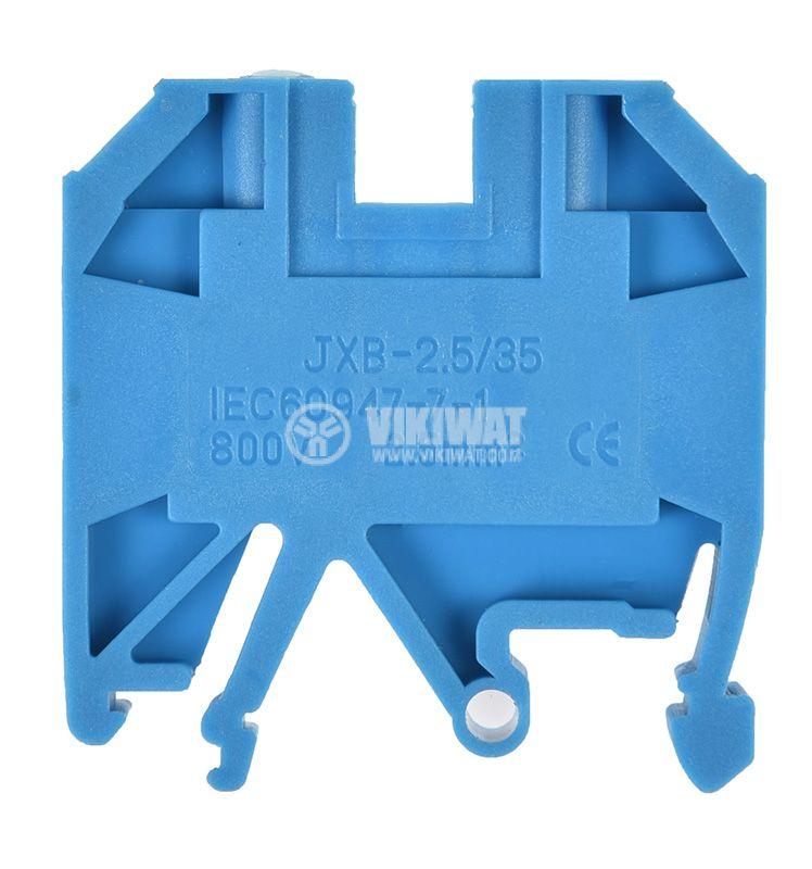 Редова клема, едноредова, JXB-2.5/35, 2.5mm2, 24A, 800V, синя  - 1