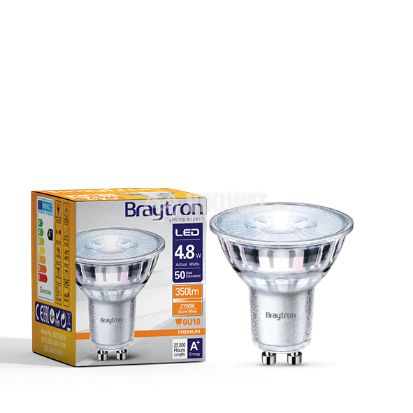 LED spotlight 4.8W, GU10, MR16, 220-240VAC, 360lm, 2700K, warm white, glass, BA27-00550 - 4