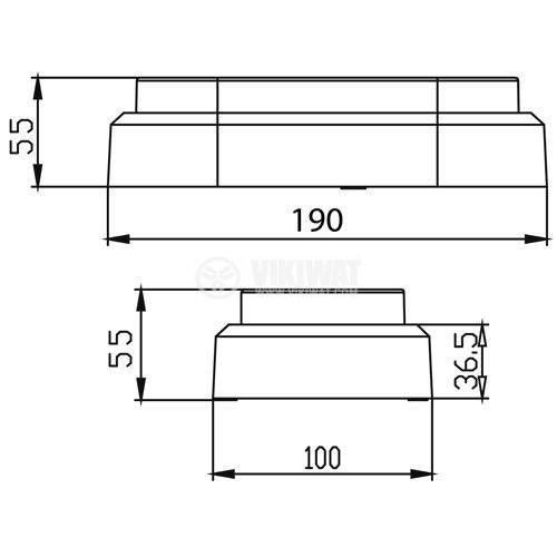LED плафон BULKHEAD-ELP, 12W, 220VAC, 840lm, 3000K, топлобял, IP54, влагозащитен, BC16-00200, елипса - 2