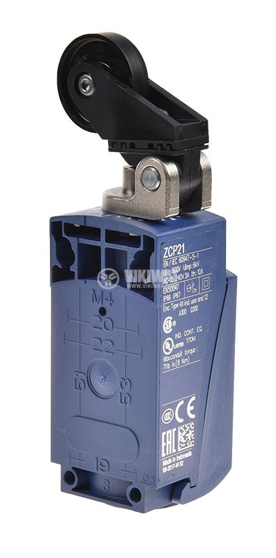 Limit switch XCKP2128P16, 3A/240VAC, NO+NC, with spring return, roller - 3
