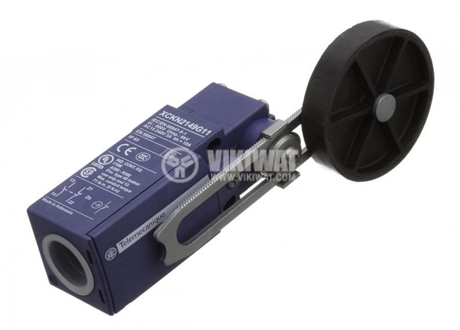 Limit switch XCKN2149G11, 3A/240VAC, NO+NC, with spring return, lever with roller - 1