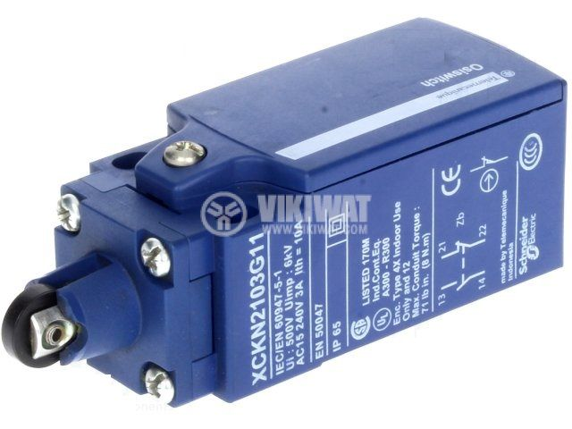 Limit switch XCKN2103G11, 3A/240VAC, NO+NC, with spring return, pusher with roller