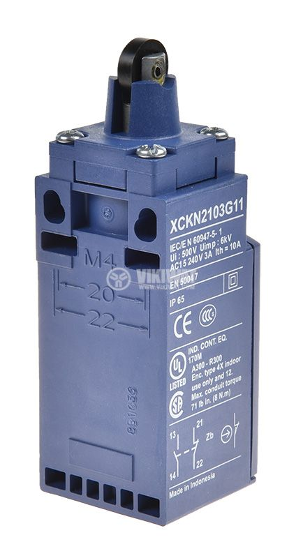 Limit switch XCKN2103G11, 3A/240VAC, NO+NC, with spring return, pusher with roller - 3