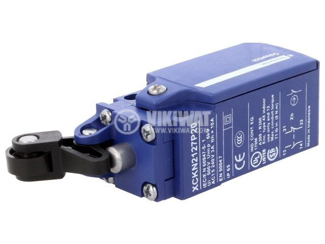 Limit switch XCKN2127G11 3A/240VAC NO+NC with spring return pusher wit - 1