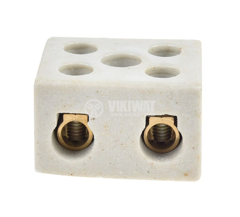 Правоъгълна лустер клема от керамика, 10mm2, 30A, 250V, двуполюсна - 3