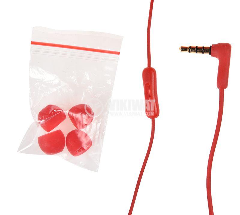 Слушалки RM-502, жак 3.5mm, вграден микрофон, червен   - 4