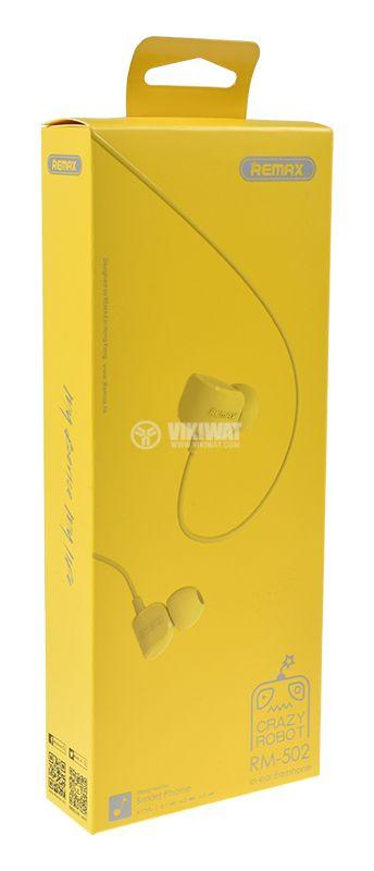 Слушалки RM-502,  жак 3.5mm,  вграден микрофон,  жълт - 5