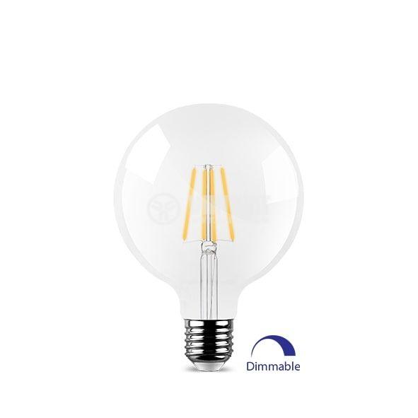 Декоративна лед филамент лампа 7W, E27, сфера, G95, прозрачна, димируема, Braytron - 1