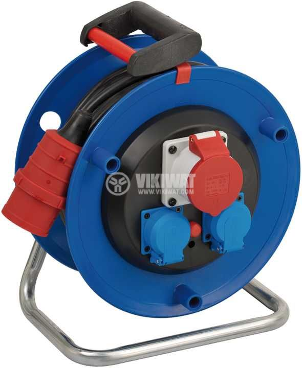 Extension reel, Brennenstuhl, GARANT, 3-way, 30m, 5x1.5mm2, thermal protection, blue, 1182730 - 1