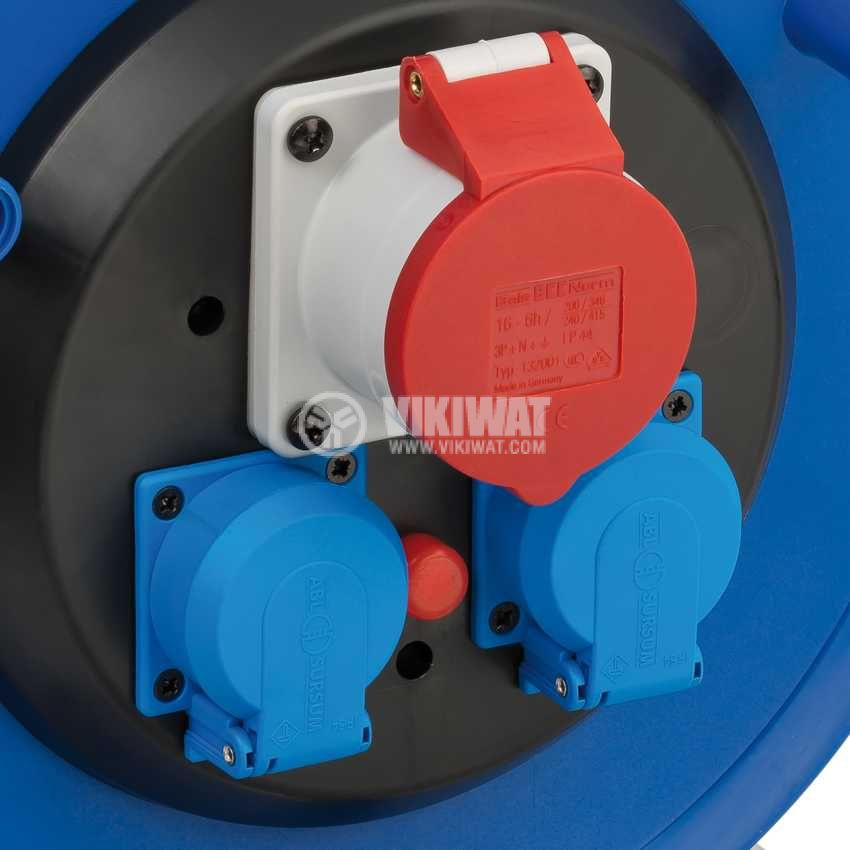 Extension reel, Brennenstuhl, GARANT, 3-way, 30m, 5x1.5mm2, thermal protection, blue, 1182730 - 2