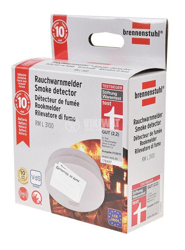 Smoke detector, Brennenstuhl RM L 3100, with sound alarm, 85 dB, 1290050  - 2