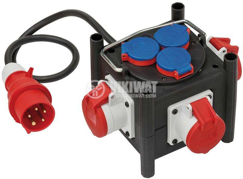 Power Distributor, Brennenstuhl, BSV 3 LS E/16 2, 6-way, 2m, 5x1.5mm2, black, 1153680100 - 1