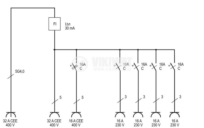 Portable power distributor, Brennenstuhl, WV 4/32 A, IP44, waterproof, 1154890020 - 9