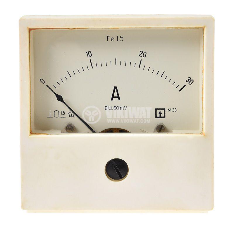 Амперметър DC, 0~30A, с шунт 30A/60mV  - 1