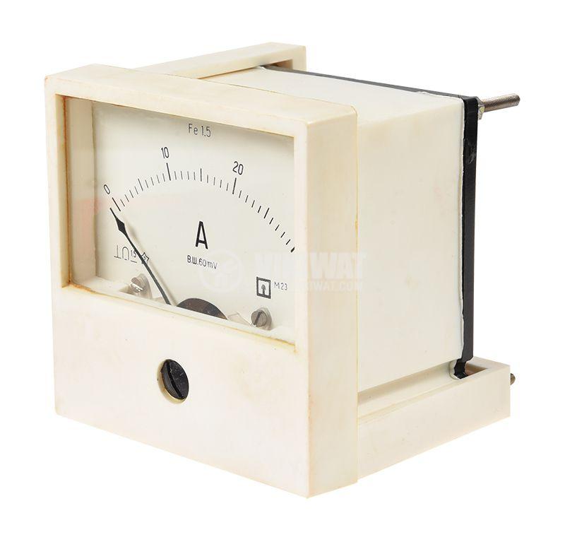 Амперметър DC, 0~30A, с шунт 30A/60mV, 80x80x60mm  - 2