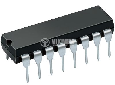 Интегрална схема 74HC258, TTL съвместима, Quad 2-input multiplexer 3-state inverting, DIP16 - 1
