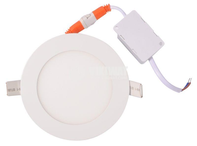 LED панел за вграждане 6W, 220VAC, 380lm, 3000K, топло бял, ф120mm, BP01-30600 - 3