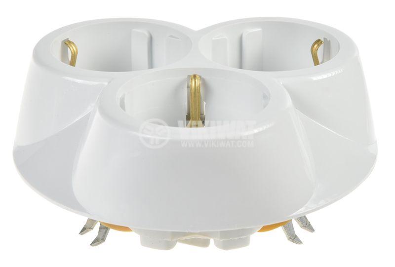 Контакт 16A, 250VAC, троен, бял, за вграждане, шуко - 2