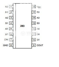 Интегрална схема 74HC283, TTL съвместима, 4-bit binary full adder with fast carry, DIP16 - 2