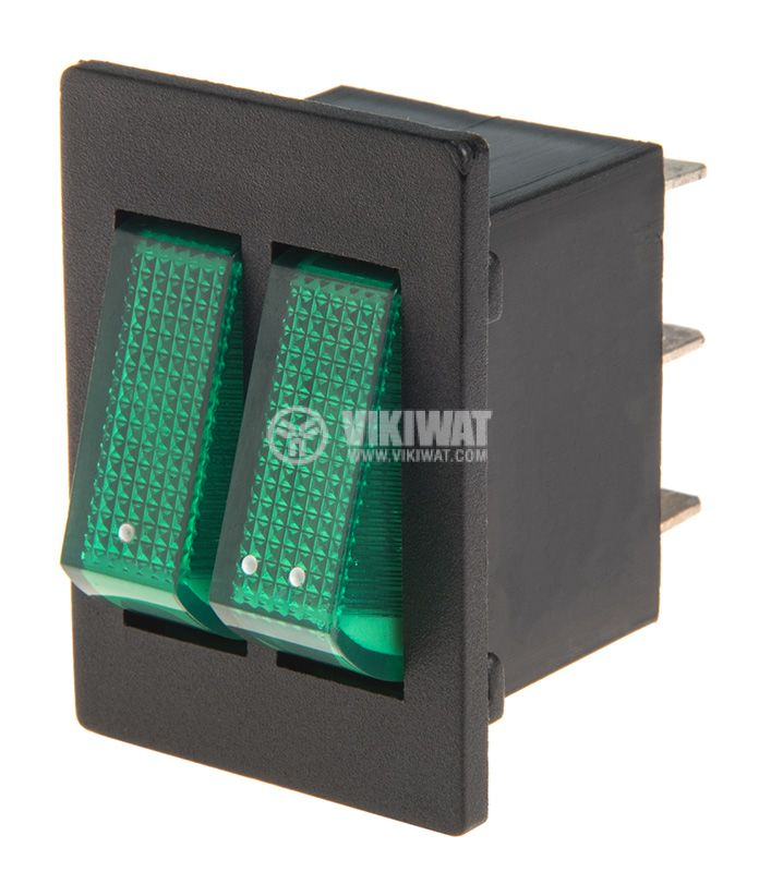Rocker Switch, 2x2-position, OFF-ON, 15A/12VDC, hole size 30x26mm - 1