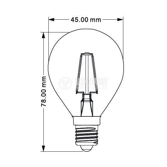 LED лампа FILAMENT 4W, E14, 230VAC  - 2