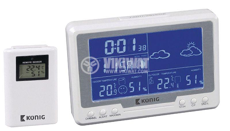 Метеостанция вътрешна и външна температура -50~70°C дисплей - 1
