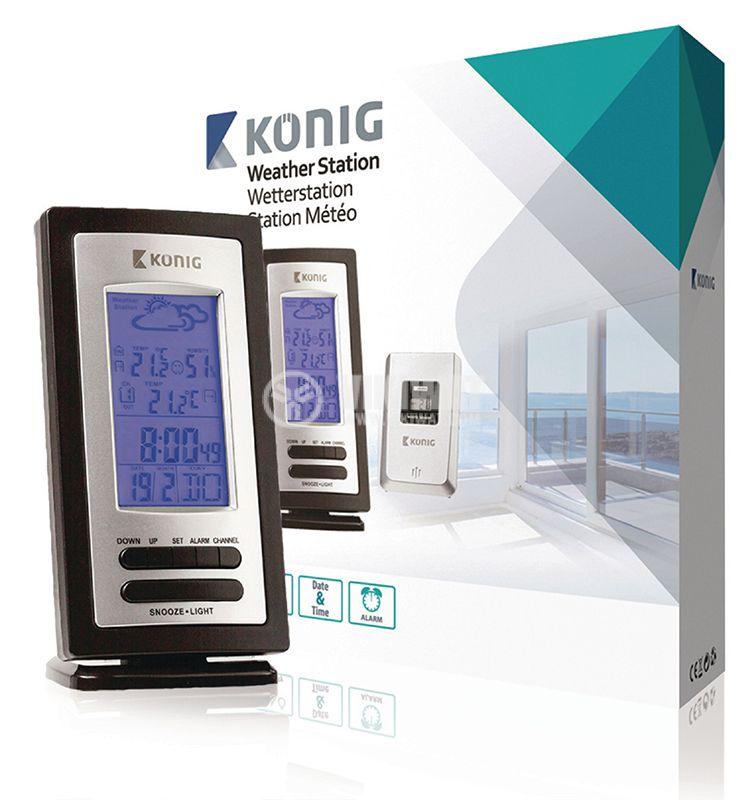 Метеостанция KN-WS205 вътрешна и външна температура -20~60°C дисплей - 5