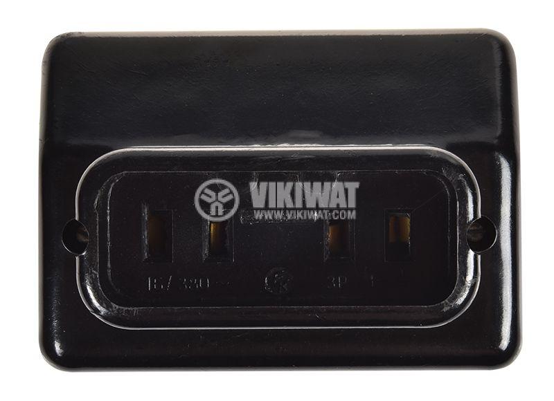 Електрически контакт 16A, 380V, черен, повърхностен, трифазен - 3