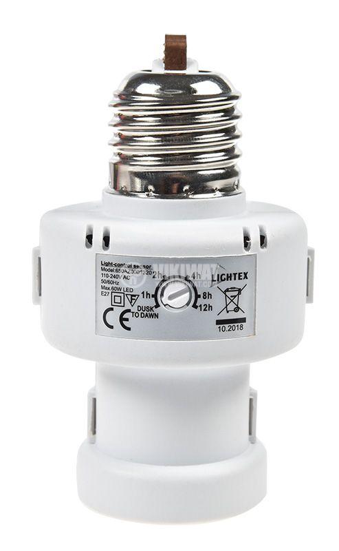 Фасунга SR1320, 360°, E27, бялa, 240VAC, за LED, пластмаса, с фотоклетка  - 5