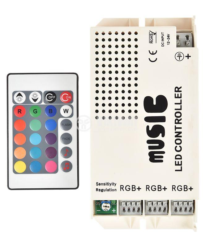 LED RGB звуков контролер 3x3A, 12-24VDC, 108W  - 1