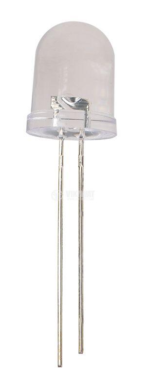 LED диод 10x14 син 5800mcd 16mA 30° изпъкнал прозрачна THT
