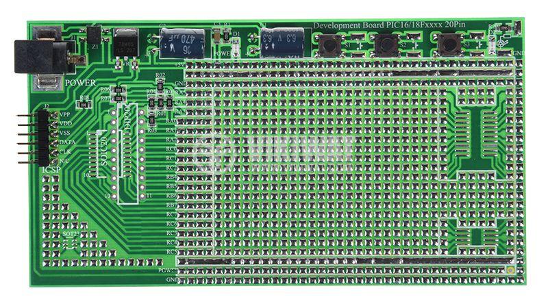 Прототипна платка PIC16/18Fxxxx, 134x72mm - 1