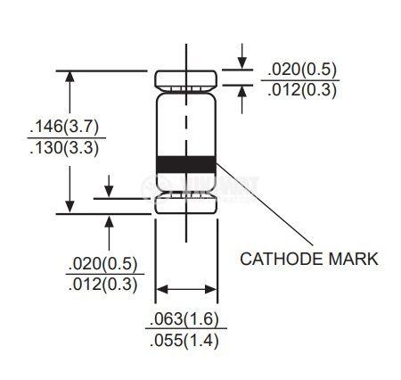 Диод 7.5V 0.5W SOD-80C 5mA SMD - 2