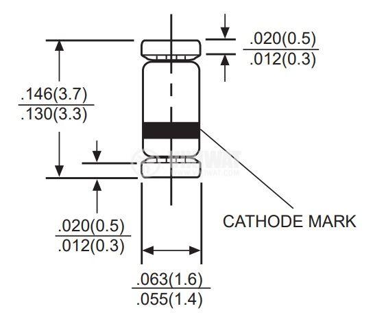 Диод 18V 0.5W SOD-80C 5mA SMD - 2