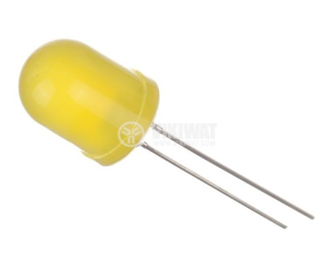 LED diode ф10mm yellow 1560mcd 20mA 60° convex diffiuse yellow THT - 1