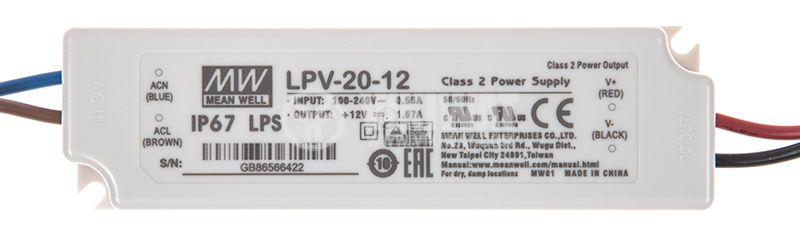LED захранване 1.67A/12VDC 20W IP67 LPV-20-12 постоянен ток - 1