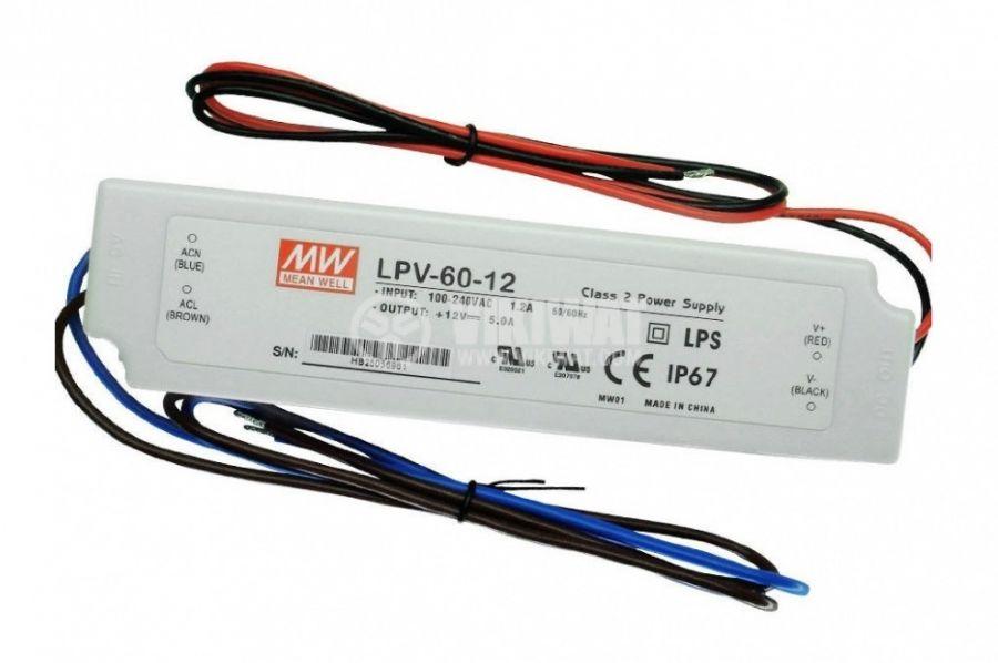 LED захранване 5A 12V 60W IP67 LPV-60-12 постоянен ток - 1