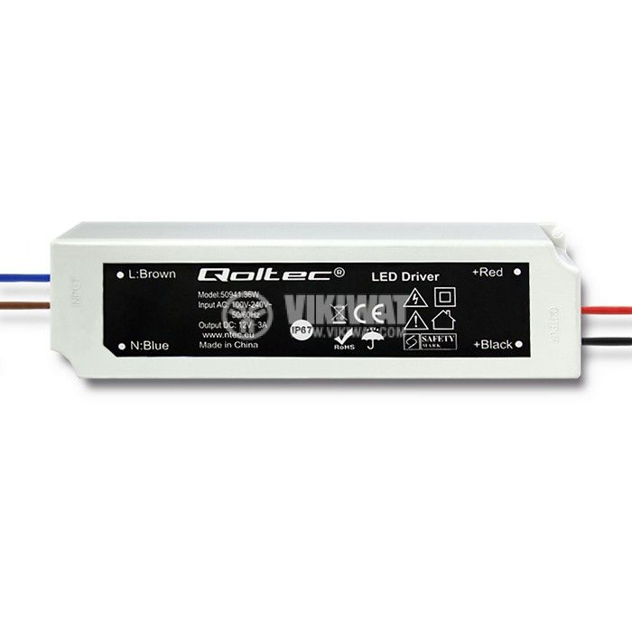 Импулсно захранване 3A/12VDC 36W IP67 постоянно напрежени