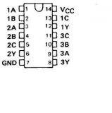 Интегрална схема 74S10, TTL серия S, TRIPLE 3-INPUT POSITIVE-NAND GATES, DIP14 - 2