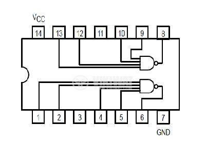 Интегрална схема 74S40, TTL серия S, DUAL 4-INPUT NAND BUFFER, DIP14 - 2