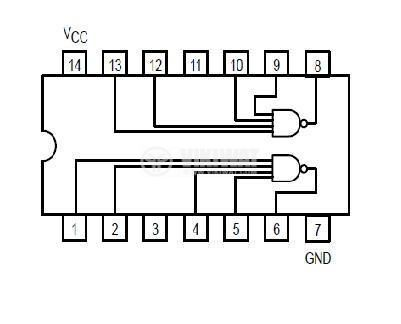 Integrated circuit 74S40, TTL S series, DUAL 4-INPUT NAND BUFFER, DIP14 - 2