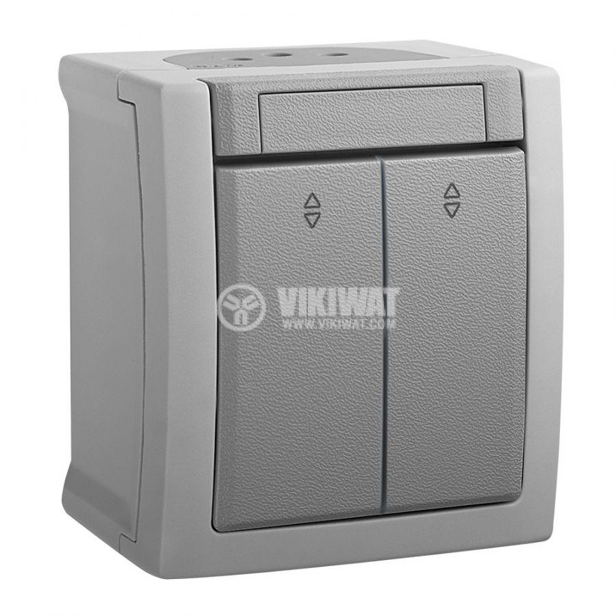 Електрически ключ, двоен, Pacific, Panasonic, сх.6, 10A, 250VAC, за външен монтаж, сив, WPTC4011-2GR - 1