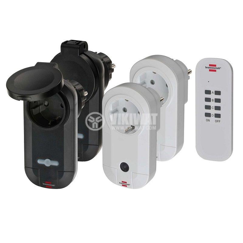 Контакти с дистанционно 4бр. 5A, 230V, черен/сив, IP20, IP44, шуко, 1507060 - 1