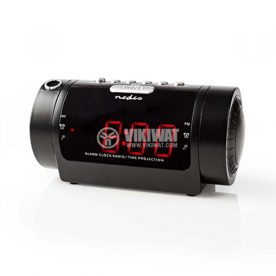Дигитален прожекционен часовник с будилник и радио CLAR005BK - 1